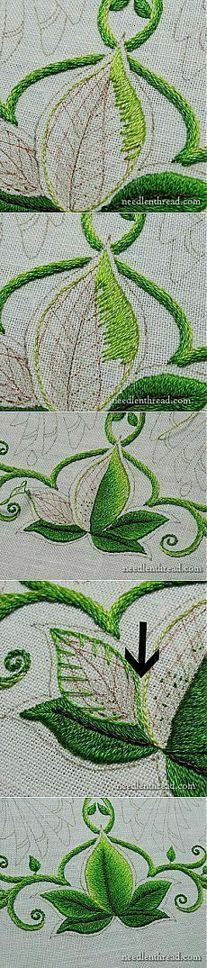 Embroidery. How to create a beautiful shaded/ombre effect. Jacobean. Long and Short Stitched