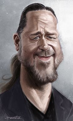 Caricature of Russell Crowe. Cartoon Faces, Funny Faces, Cartoon Art, Cartoon Characters, Funny Caricatures, Celebrity Caricatures, Famous Cartoons, Funny Cartoons, Sketch Manga