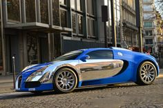 Outrageous is the only way to describe the Bugatti Veyron. The fastest production car in the world with a top speed of Bugatti Veyron Chiron, Bugatti Concept, Blue And White Style, Bugatti Cars, Hot Rides, Top Gear, Car In The World, Expensive Cars, Fast Cars