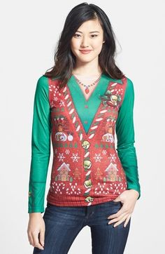Faux Real 'Ugly Christmas Vest' Long Sleeve T-Shirt (Women) $30