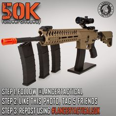 The clock is ticking but time isn't up yet! Follow the three steps bellow to make another submission for the Lancer Tactical 50K follower giveaway! ONE winner will chose between a Full Tactical Gear Set or Airsoft Gun Package (shown here) when we reach our goal. To enter the giveaway follow the instructions below: -------------------------------------------Step 1. Follow @lancertactical  Step 2. Like this photo and tag 5 friends  Step 3. Repost using #lancertactical50k…
