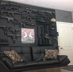 The Perfect Accessories for Every at-Home Bar - Man Cave Home Bar Weapon Storage, Gun Storage, Guns And Ammo, Weapons Guns, Army Wife, Gun Safe Room, Man Cave Guns, Tactical Wall, Tactical Gear
