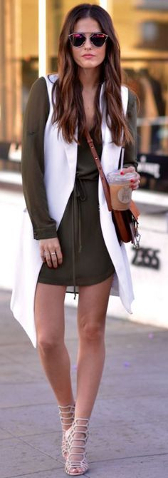 Blank Itinerary Olive Little Dress Whit Elong Vest Fall Inspo