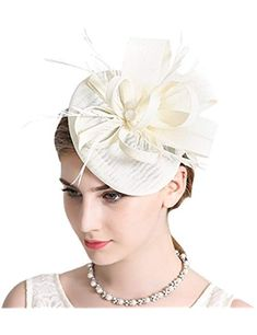 Sinamay Feather Fascinators Womens Pillbox Flower Derby Hat for Cocktail  Ball Wedding Church Tea Party 8313cf32790a