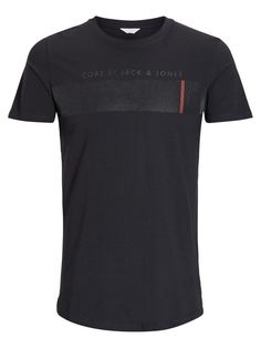 Rubber printed t-shirt in black, with orange touch, in slim fit and made from cotton   JACK & JONES #tee #cool #style #men