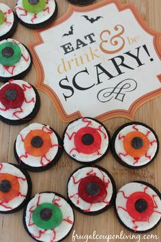 These OREO Halloween Treats are so easy - Scary OREO Eyeballs on Frugal Coupon Living - a Kids Halloween Food Craft!