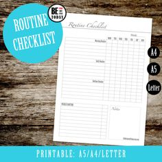 Routine Chart Printable, Morning, Daily, Bedtime Routine Checklist, A5, A4, Letter, Chore Chart, Filofax Printable Inserts, Kikki K Planner