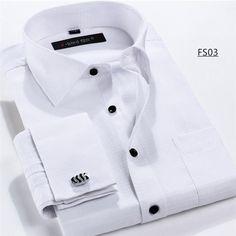 Men Cufflinks Shirt New Men's Shirt Long Sleeve Casual Male Shirts Slim Fit French Cuff Dress Shirts For Men
