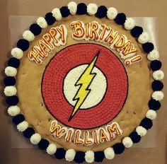 The Flash cookie cake. Cookie Cake Decorations, Birthday Decorations, Cookie Decorating, Star Wars Birthday, 5th Birthday, Birthday Ideas, Cake Cookies, Giant Cookies, Cupcakes