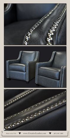 """The Milan chairs are inspired by the elegant styling commonly seen in Italian fashion. Designers Tip: Grey is a very fashionable color ranging from a """"Light Sky Grey"""" to a """"Dark Moody Grey"""". The sleekness of the color (if done right) can add more than upscale sophistication, it can add warmth. Ask one of our professionals what shades of grey might be right for you and your home. www.creativeleather.com Leather Furniture, Custom Furniture, Chair And Ottoman, Italian Fashion, Shades Of Grey, Fashion Designers, Milan, Love Seat, Chairs"""