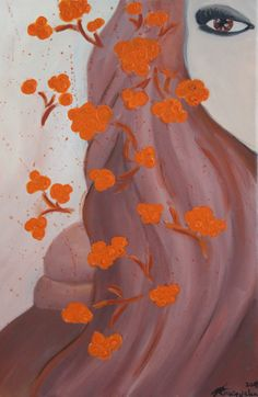Girl with orange flower ( 40x60 , Akryl)