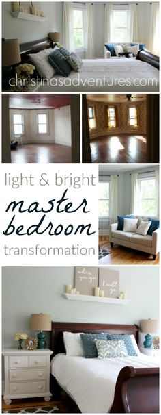 Woah! This bedroom used to have a red ceiling - what?!  Now it's a light & airy relaxing retreat!