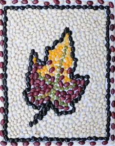 Fun Fall Crafts to Make With Your Kids Bean Mosaic: Fall Leaf Project - Tiny Rotten Peanuts Leaf Projects, Mosaic Art Projects, Fall Art Projects, Arts And Crafts Projects, Projects For Kids, Project Ideas, Arte Elemental, Fall Crafts For Kids, Autumn Art