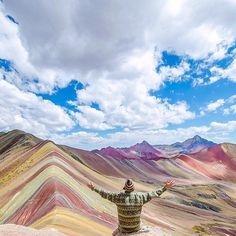 Location: The Rainbow Mountains of Vinicunca Peru.  Photo Credit: @theendlessadventures & @bamorris5 by travelsouthamerica