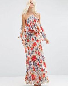 ASOS Beautiful Floral Ruffle Front Cold Shoulder Maxi Dress