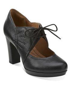 Look at this #zulilyfind! Black Flyrt Dally Leather Pump by Clarks #zulilyfinds