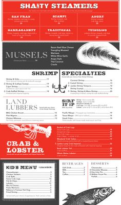 Seafood Shanty Dinner Menu