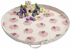 3 Sprouts Play Mat Bag, Elephant, Pink 3 Sprouts