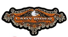 Love the golden color and lacy trim on this lady rider patch. Reminds me of lingerie. Am I weird? Motorcycle Patches, Biker Patches, Harley Davidson Road Glide, Harley Davidson Bikes, Motorcycle Accessories, Leather Accessories, Vintage Biker, Cafe Racer Build, Road Bike Women