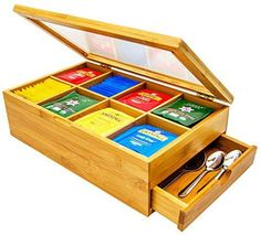 Sugarman Creations Bamboo Tea Box Organizer with 8 Storage Compartments and Slide Out Drawer for Accessories