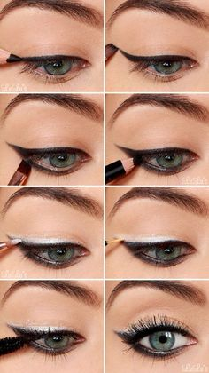 Black Eyeshadow Tutorial for Blue Eyes | 12 Colorful Eyeshadow Tutorials For Blue Eyes by makeup Tutorials at http://makeuptutorials.com/12-colorful-eyeshadow-tutorials-blue-eyes/