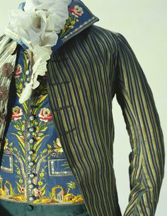 Man's Suit (Detail)  1790 On this waistcoat are delicately embroidered arches and rows of pillars in the style of ancient Rome. During...