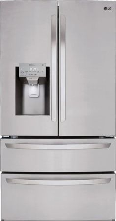 LG 27.8 4-Door French Door Smart Wi-Fi Enabled Refrigerator PrintProof Stainless steel LMXS28626S - Best Buy Z Kühlschrank French Door, French Doors Patio, Wine Glass Shelf, Glass Shelves, Stainless Steel Refrigerator, French Door Refrigerator, Appliance Bundles, Kitchen Appliance Packages, Shops