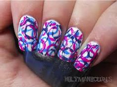 Blue, purple, and circle nails! Awesome!