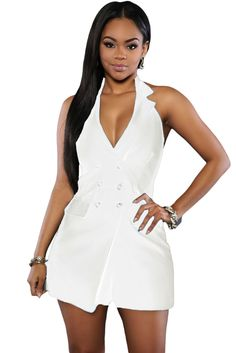 Chasubles & Grenouilleres Blanc A Double Boutonnage Halter Romper Pas Cher www.modebuy.com @Modebuy #Modebuy #Blanc #sexy #me