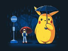 Ash Ketchum, Pikachu, raining, umbrellas, cute, My Neighbor Totoro, crossover, Studio Ghibli; Pokemon