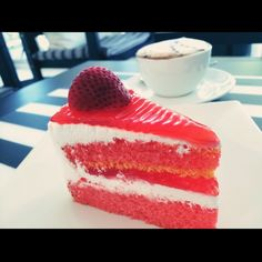 strawberry cake and hot latte coffee #yummy #nice #cool #espresso  #always #welcome #songdecafe