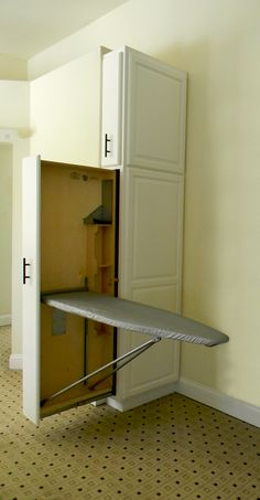 A cool pull out ironing board that is conveniently located in a master bedroom wall cabinet. A cool pull out ironing board that is conveniently located in a master bedroom wall cabinet. Laundry Room Remodel, Laundry Room Organization, Laundry Room Design, Laundry Nook, Laundry Drying, Laundry Closet, Wardrobe Design Bedroom, Closet Bedroom, Master Bedroom