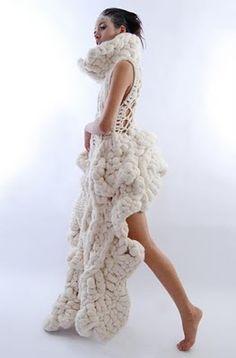 From Johan Ku's sculptural knitwear collection; 3D textured fashion #art #design
