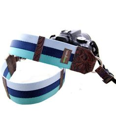 Teal & Blue webbing camera strap!