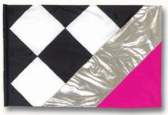 fi121Elg Black, white, silver & pink checkerboard Color Guard flag from The Band Hall; Nascar