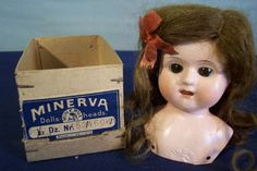 81: Minerva Germany tin doll head, open mouth with teet : Lot 81