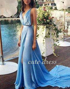 Simple v neck long blue prom dress for teens, evening dress