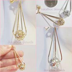 "Clip On 1-7/8"" Floating Ornate Bead Dangle Non Pierced Earrings Gold/Silvertone #Floating #Clip #nonpierced #earrings #cliponearrings"
