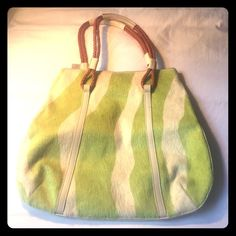 Sissy Italy lime green pony hair bag⬇️⬇️⬇️ Small flaw in leather on back due to storage. Never used! No PayPal or trades. Reasonable offers via offer option only only. Location: Boca Raton, Fl Sissy Bags
