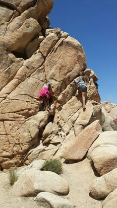 Rock climbing at Joshua Tree National Park. Joshua Tree is the ultimate playground for kids and adults!