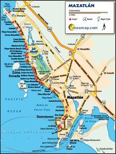 Mazatlan Map - Mazatlan Mexico. Our trip with a group. Feb.6-13 1990