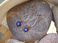 Cobalt Blue Evil Eye and Mixed Metal Dangle by Beads4You2008