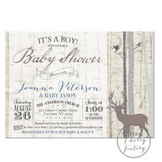 Rustic Woodland Baby Shower Invitation - Vintage Birch - Baby Boy Shower Invitation - Printable  No.891