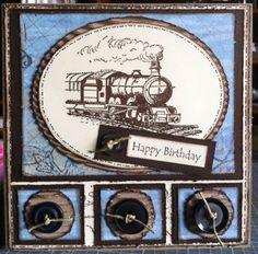 Kaszazz train & sentiment mounted on corrugated cardboard & Kaszazz card stock.