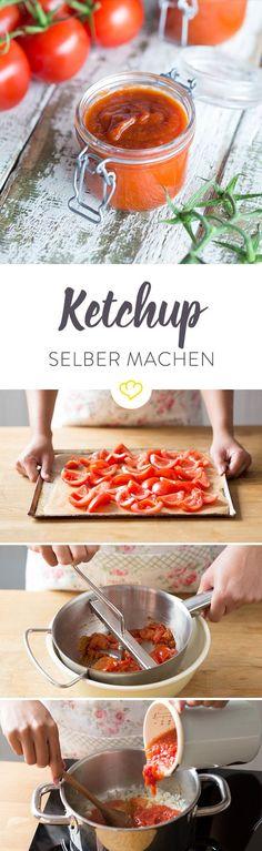 Ketchup selber machen ist ganz einfach und du kannst ihn ganz ohne künstliche Aromen nach deinem Geschmack verfeinern. Finde hier heraus, wie's geht.