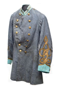 Sumter Guards uniform coat (pictured below), worn by Captain D. Huger Bacot in the 1870s, and perhaps earlier, since the coat may be Civil War manufacture. The collar and cuffs represent the infantry as specified by the system of branch color developed during the Civil War.  Charleston Museum.