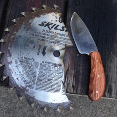 "Knife made from a 10"" saw blade."
