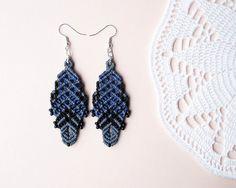 Micro macrame earrings - Gray Blue Black Unique