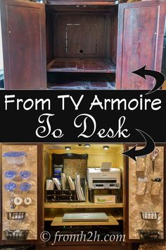 How To Convert A TV Armoire To A Desk | If you have an old TV armoire, but don't have the old TV anymore, you can upcycle it into a compact home office space...and you just close the doors to hide the mess! www.fromh2h.com