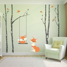 This product includes 4 River Birch TREES & 6 branches in removable WHITE vinyl, 1 swing hanging from the tree branch + Baby Fox in orange, Mom Fox in orange and 10 Birds in the same orange palette. S